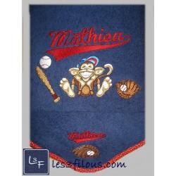Drap de bain Singe Baseball...